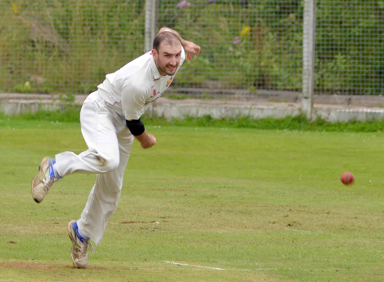Matthew Smalley bowls against Bolton Deane and Derby  during the semi-final of the first XI Championship Cup ..