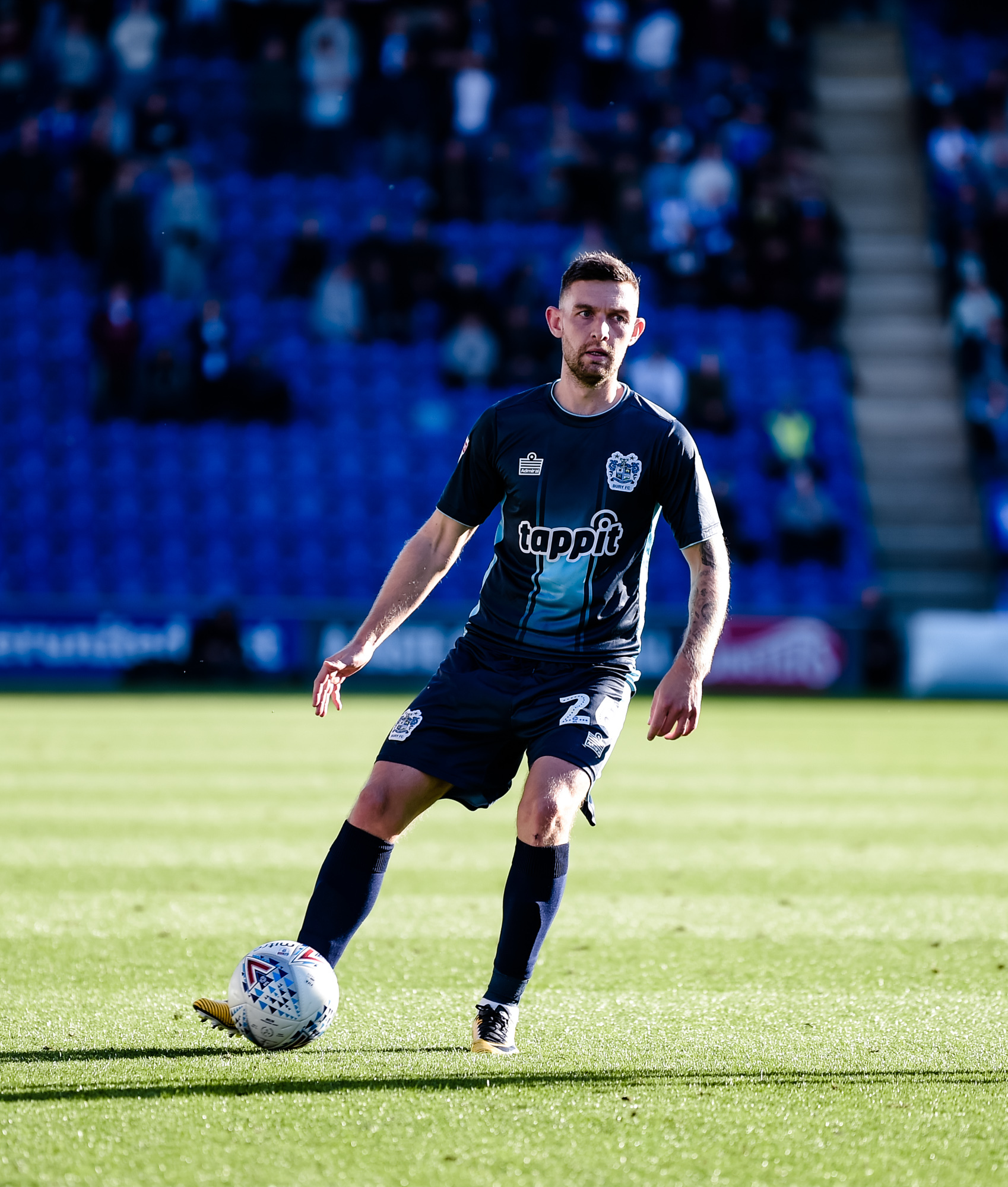 Bury midfielder Jay O'Shea during the Sky Bet League 2 match between Colchester United and Bury FC at the JobServe Community Stadium, Colchester on Saturday 29th September 2018. Credit: Andy Whitehead...Tel: +44 7746 877546.e-mail: info@andywhiteheadp
