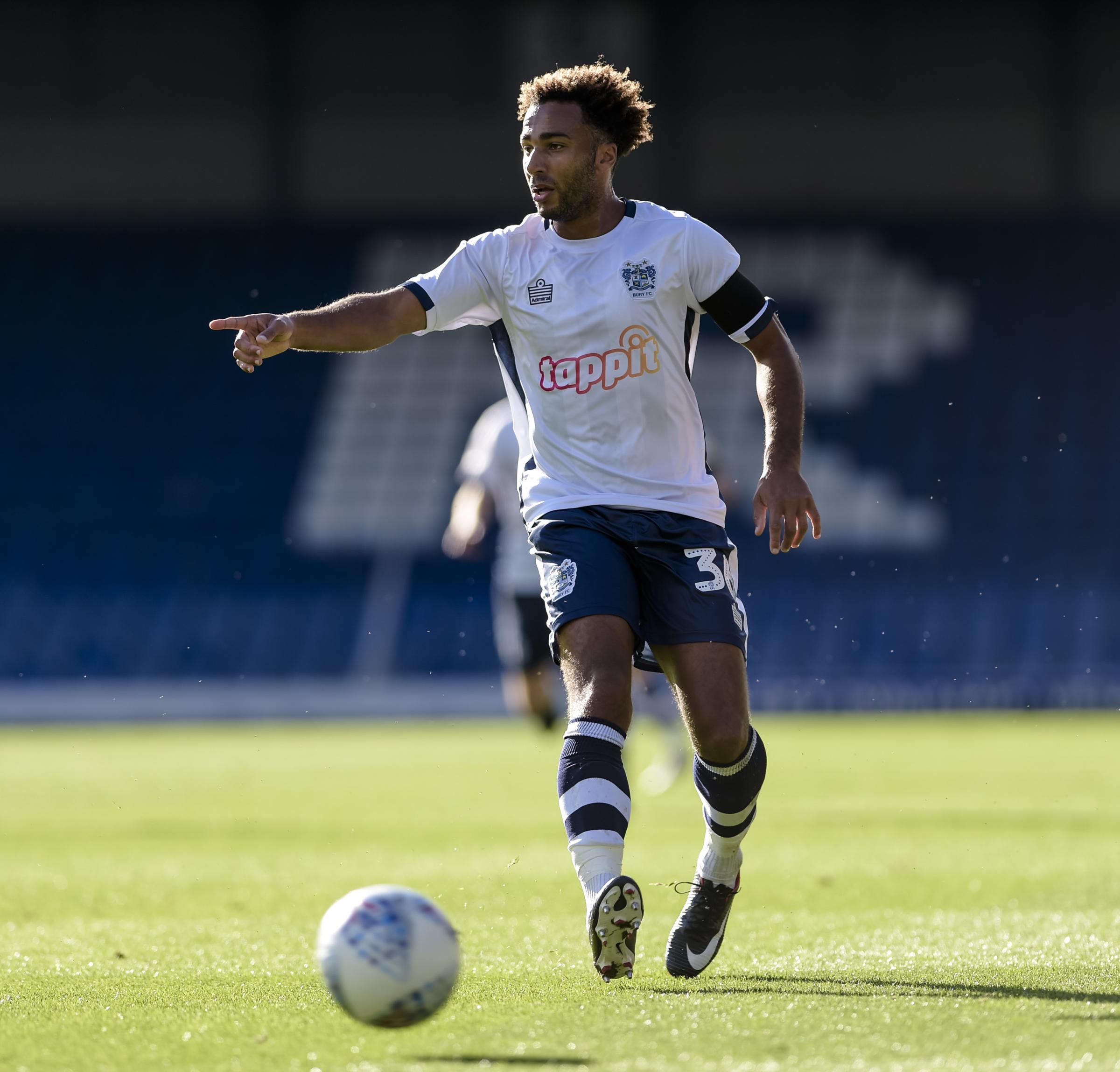 Bury forward Nicky Maynard during the Sky Bet League 2 match between Bury FC and Mansfield Town at The Energy Check Stadium at Gigg Lane, Bury on Saturday 6th October 2018. Credit: Andy Whitehead...Tel: +44 7746 877546.e-mail: info@andywhiteheadphotograph