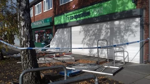An area outside the Co-op, in Vernon Road, Greenmount, has been cordoned off
