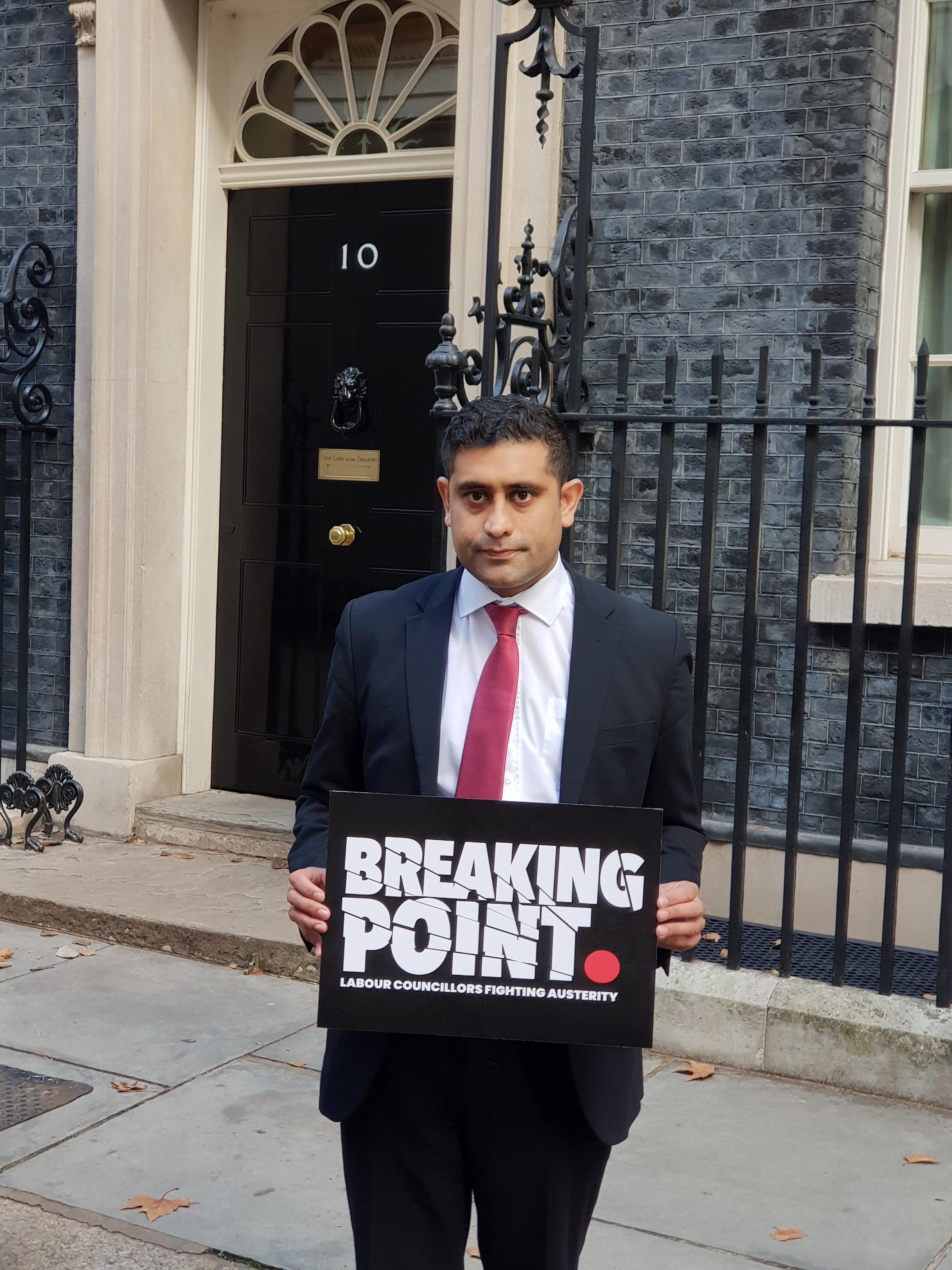 AUSTERITY: The Leader of Bury Council, Cllr Rishi Shori, outside No.10 Downing Street
