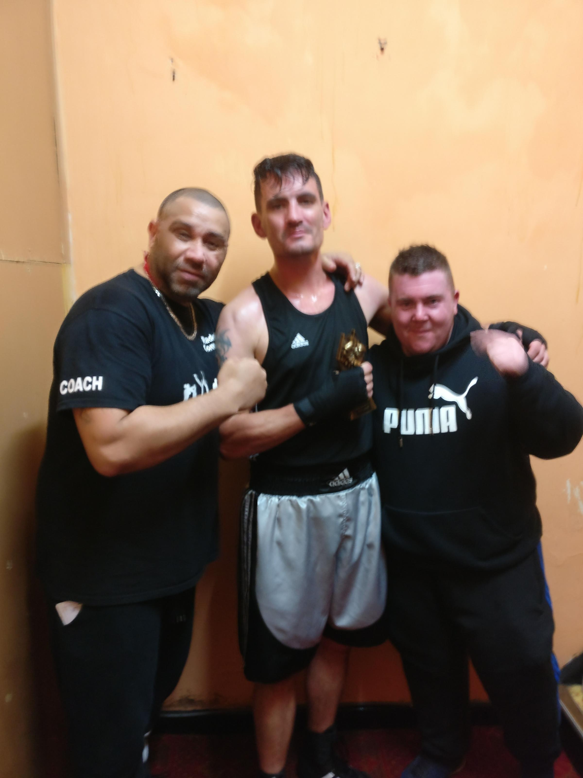 BOXING CLEVER: Coach Barry Smart, fighter Neil Nighton and coach Patrick McElherron
