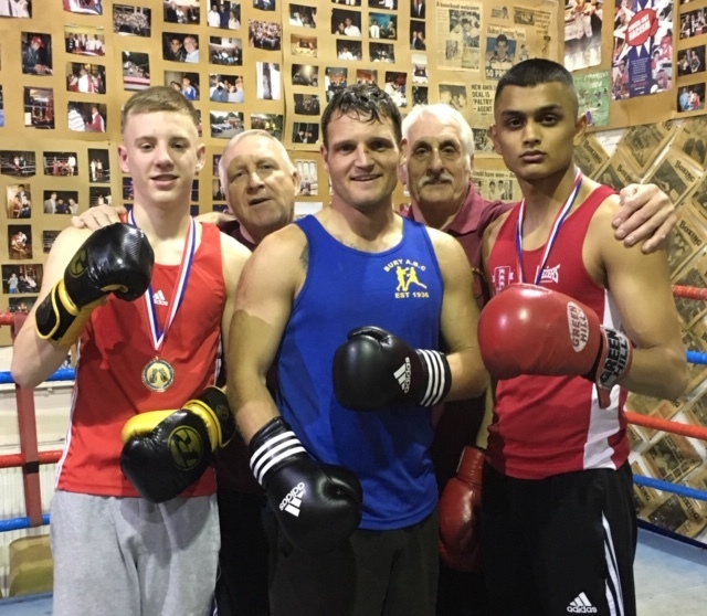 WINNERS: Front, from left, Kian Winstanley, Adam Miles and Ali Akbar Javid; back coaches Colin Carr and Mick Jelley