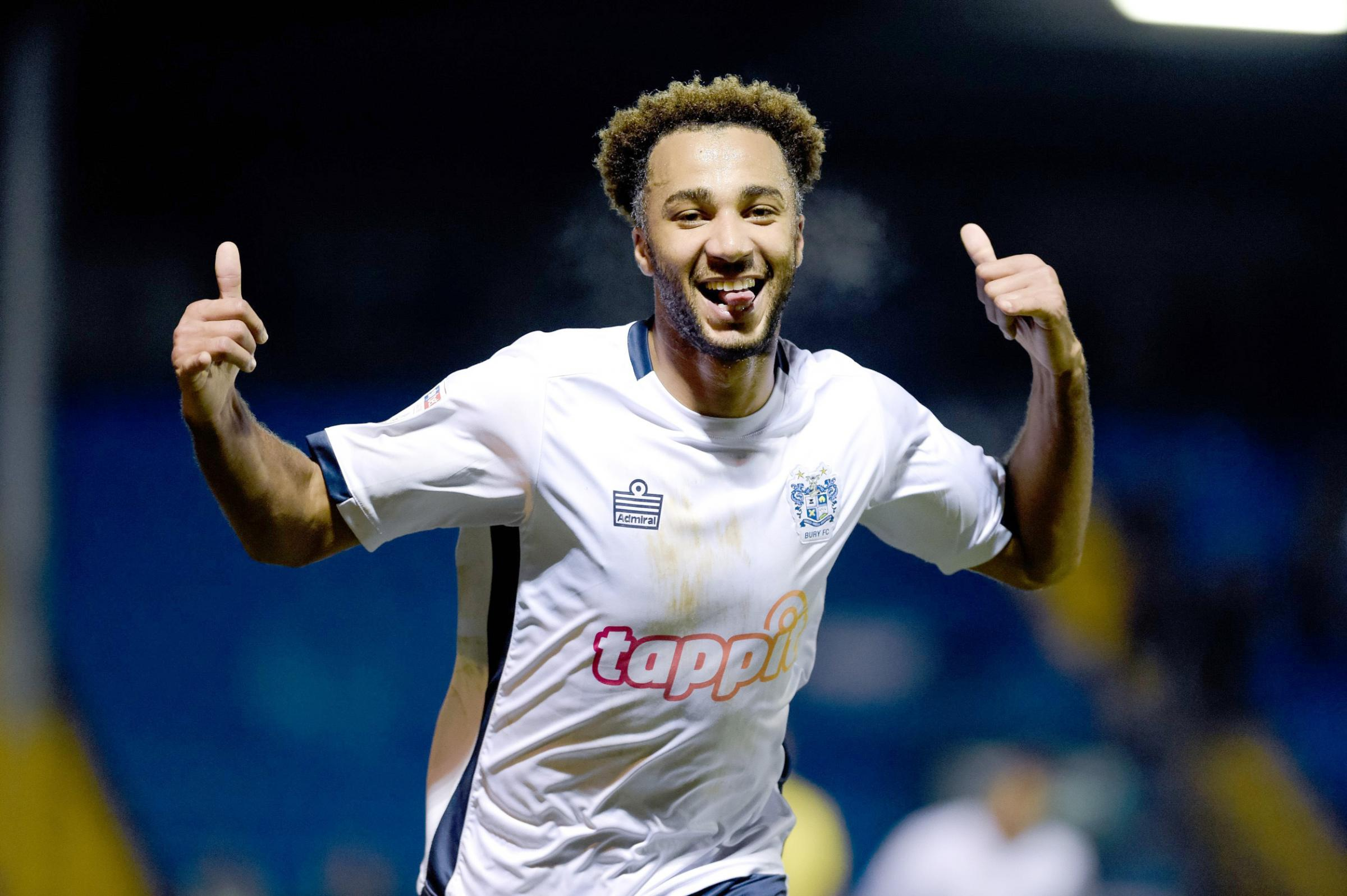 ALL SMILES: Nicky Maynard shows his delight after scoring one of his two goals in Tuesday night's 4-1 home victory over Cheltenham Town