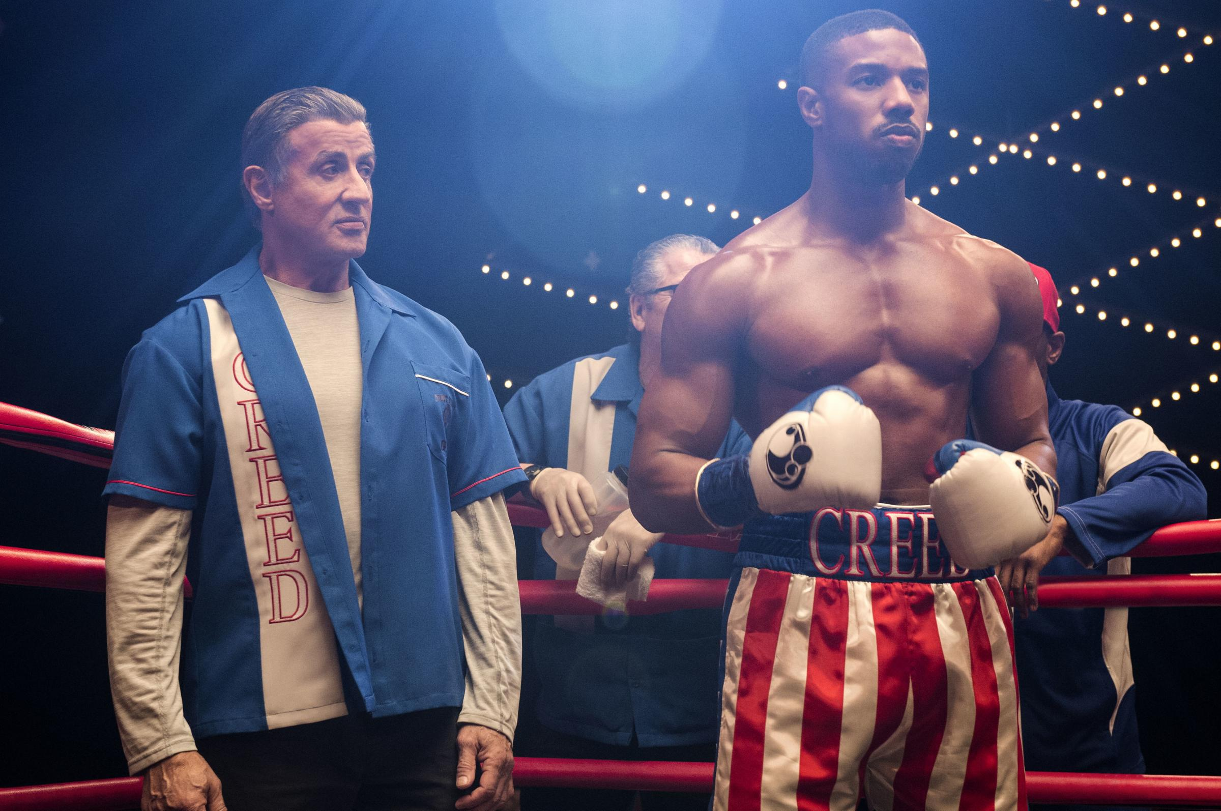 Undated film still handout from Creed II. Pictured: Sylvester Stallone as Rocky Balboa and Michael B. Jordan stars as Adonis Creed. See PA Feature SHOWBIZ Film Reviews. Picture credit should read: PA Photo/Metro-Goldwyn-Mayer Pictures Inc./Warner Bros. En