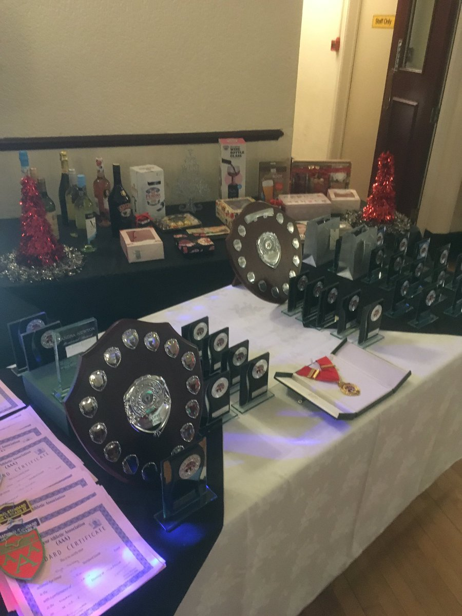 TROPHY TIME: The awards are lined up for Bury AC members