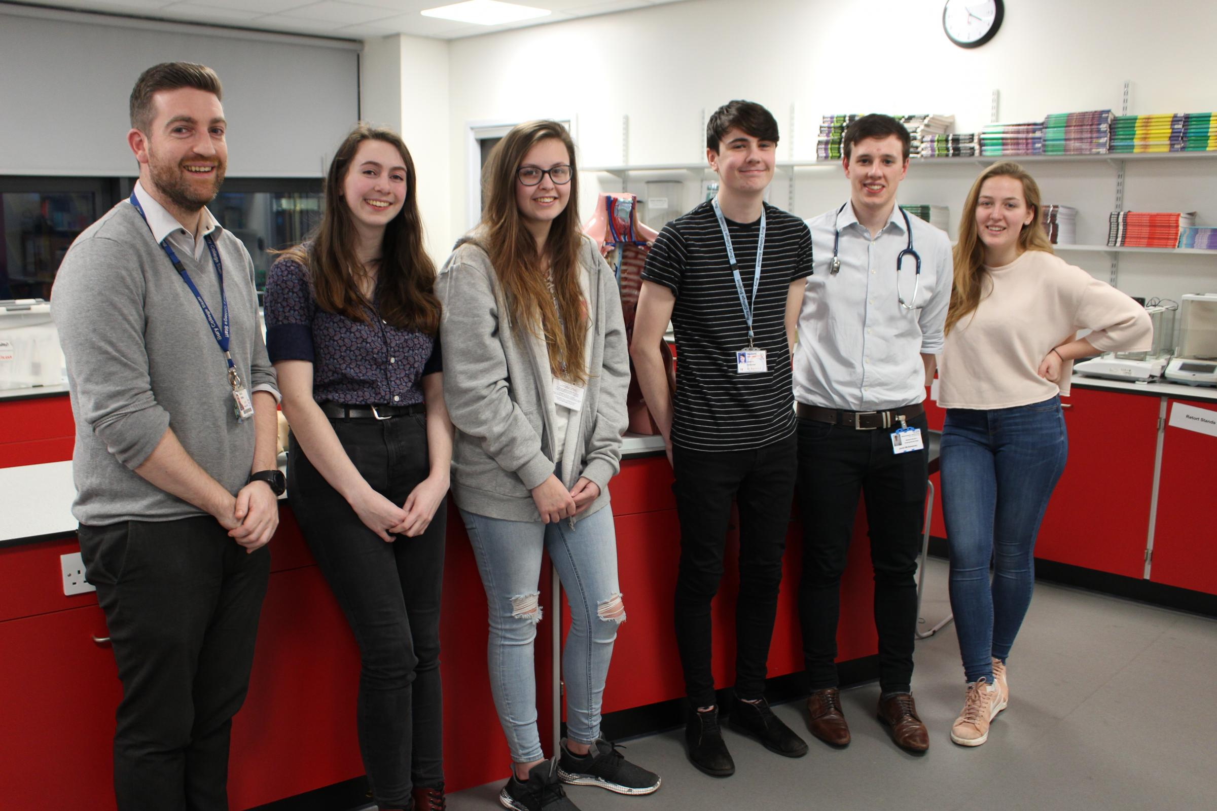 VISIT: Trainee doctors met with pupils at Bury College. Pictured, Martin Attree, left, with Ashleigh Smith, Amy Duckworth, Gareth Kershaw, Jared McSweeney and Georgia Cross