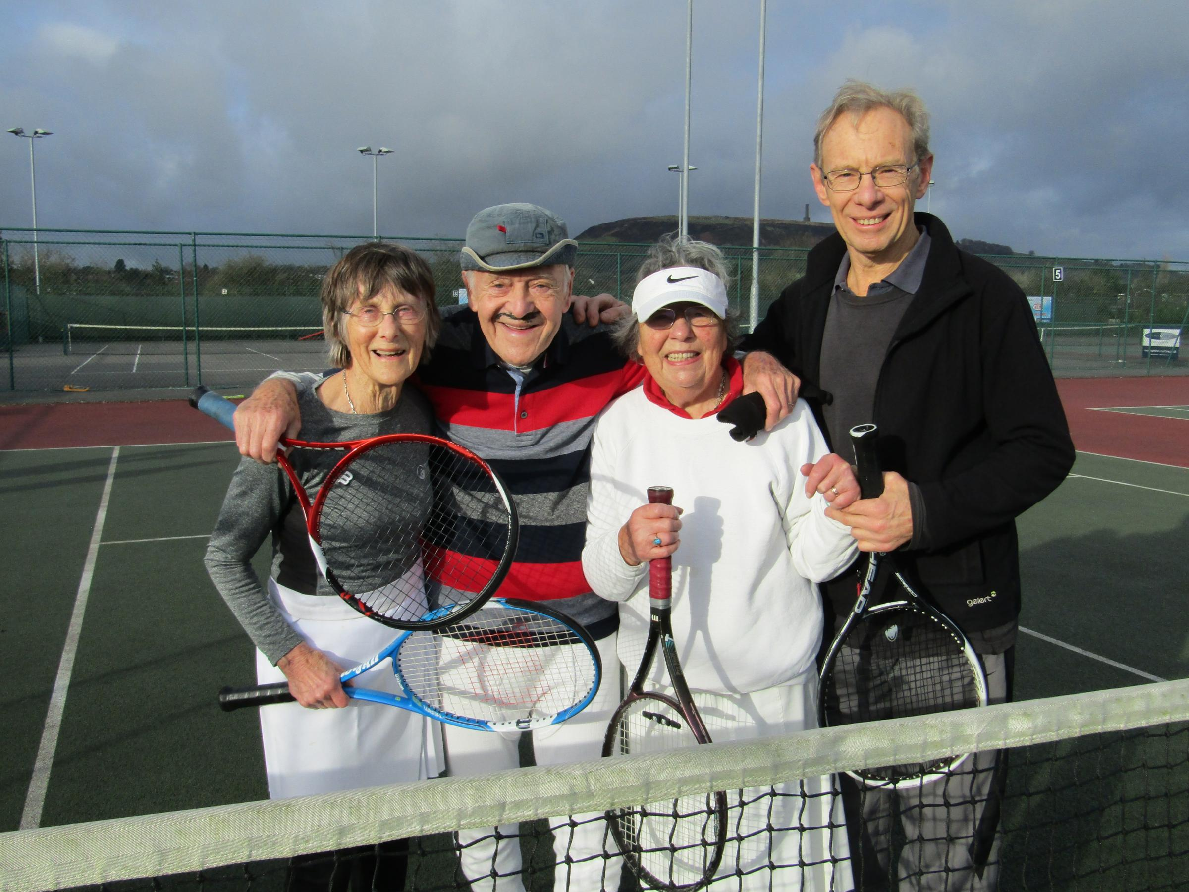 STILL PLAYING: Holcombe Brook Sports Club veterans, from left, Jane Bisson, Derek Schofield, Gretchen Pyves and Jeremy Stuart