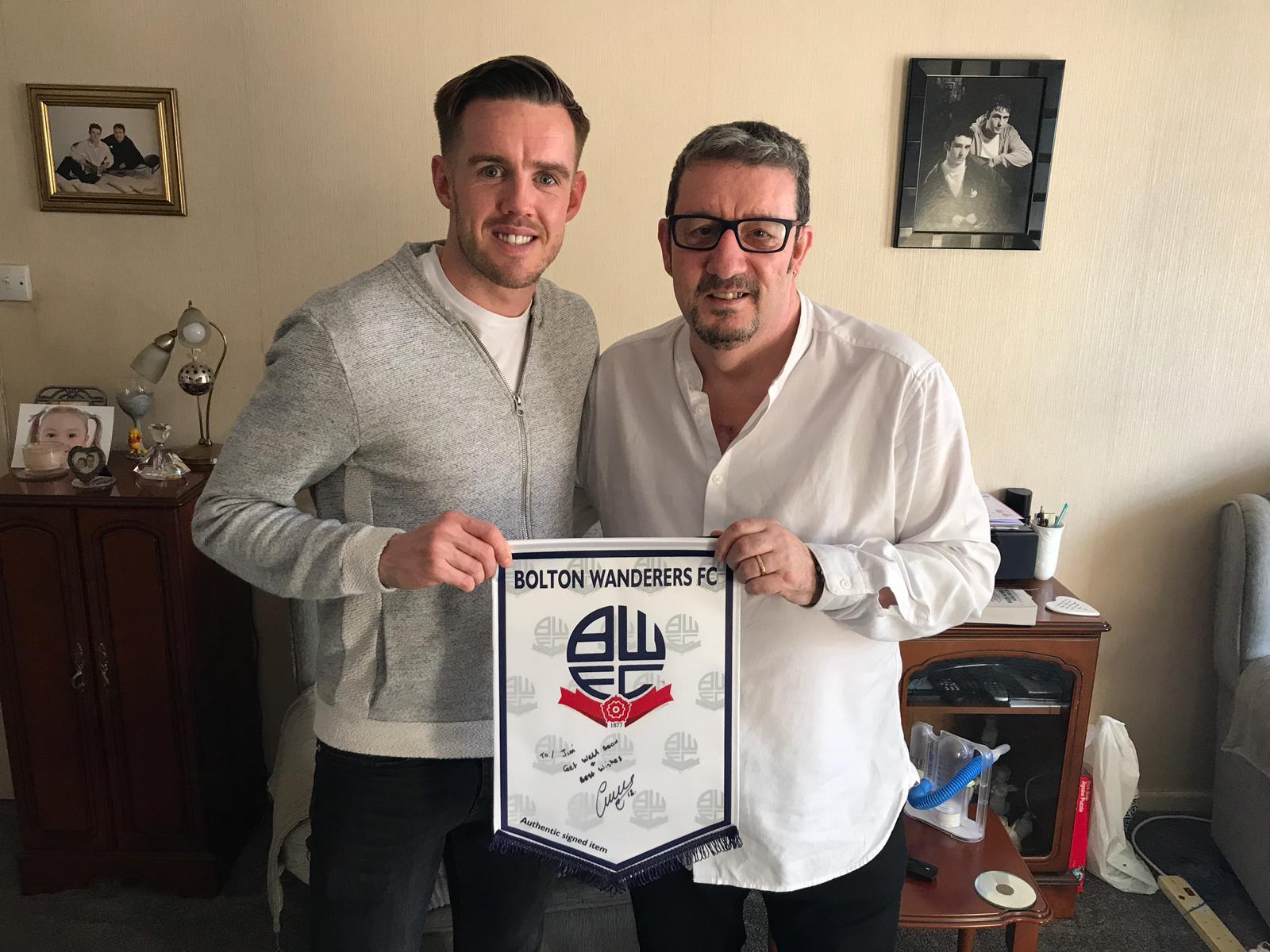 Bolton Wanderers star Craig Noone with lifelong fan Jim Waite