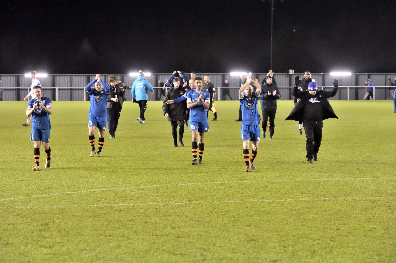 Ramsbottom players after their defeat at Fylde. Picture by Frank Crook