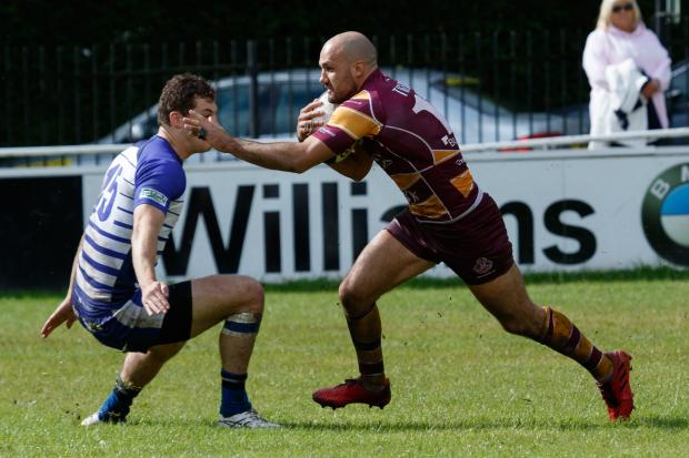 OPENER: Sedgley Park's Rob Holloway got the first try against Huddersfield