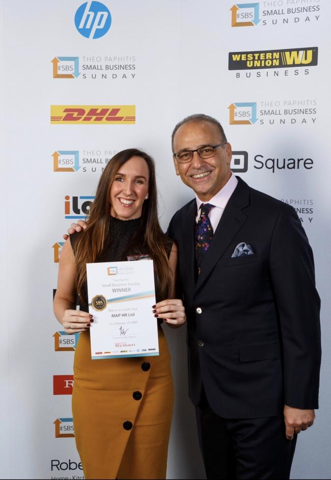 MAP HR director Kate Steward and Theo Paphitis