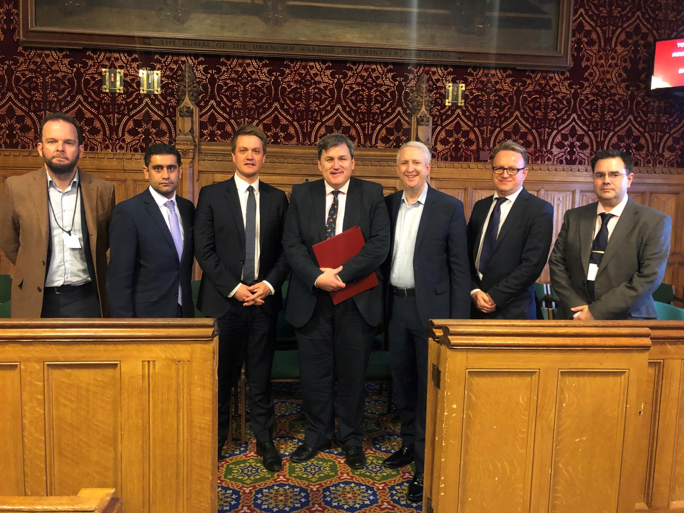 CROSS-PARTY: Cllr James Daly (left), Cllr Rishi Shori, James Frith MP, housing minister Kit Malthouse, Ivan Lewis MP, Cllr Tim Pickstone and Bury Keep It Green campaigner Chris Russell