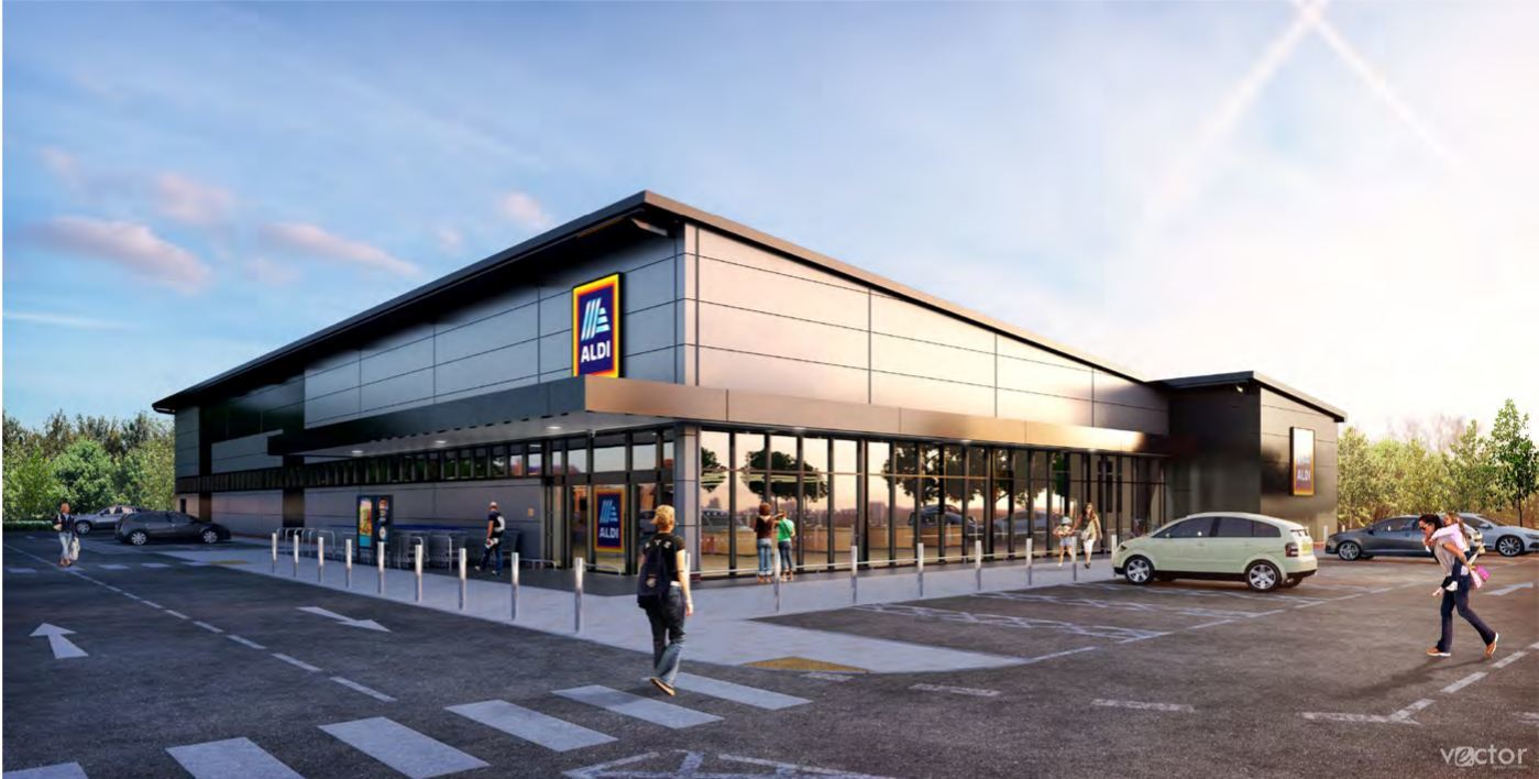 CGI of the proposed new Aldi store in Whitefield
