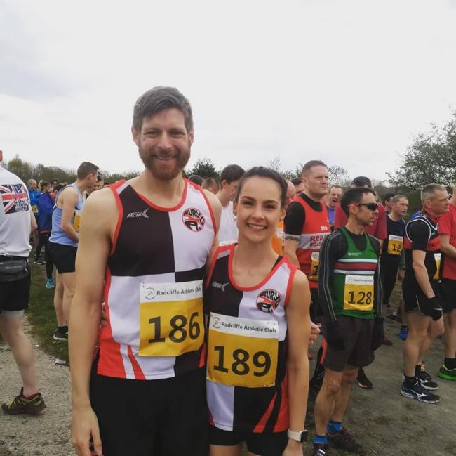 ALL SET: Hannah Price and Patrick Babb before the Radcliffe 10k trail race