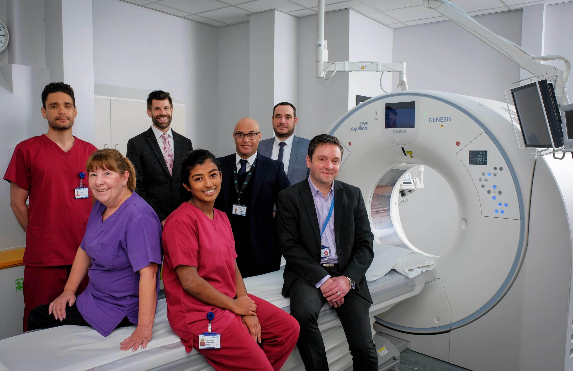 Leonardo Borges De Souza, Radiographer, Colin Murray, Account Manager for Canon Medical Systems Ltd, Stephen Green, Radiology Project Manager, James King, Project Manager for Canon Medical Systems Ltd, Paul Barker, Senior Directorate Manager for Radiology