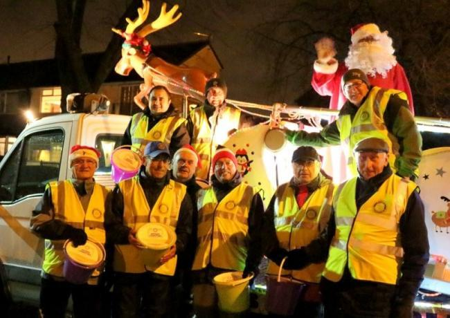 The Rotary Club of Radcliffe out with Santa's sleigh in December 2018